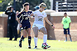 23 October 2016: Wake Forest's Sarah Medina (30) and Notre Dame's Shannon Hendricks (11). The Wake Forest University Demon Deacons hosted the University of Notre Dame Fighting Irish at Spry Stadium in Winston-Salem, North Carolina in a 2016 NCAA Division I Women's Soccer match. Notre Dame won the game 1-0.