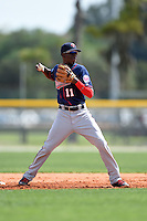 Minnesota Twins Nick Gordon (11) during practice before a minor league spring training game against the Baltimore Orioles on March 28, 2015 at the Buck O'Neil Complex in Sarasota, Florida.  (Mike Janes/Four Seam Images)