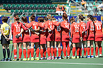 The Hague, Netherlands, June 13: Players of Korea line up prior to the field hockey placement match (Women - Place 7th/8th) between Korea and Germany on June 13, 2014 during the World Cup 2014 at Kyocera Stadium in The Hague, Netherlands. Final score 4-2 (2-0)  (Photo by Dirk Markgraf / www.265-images.com) *** Local caption ***