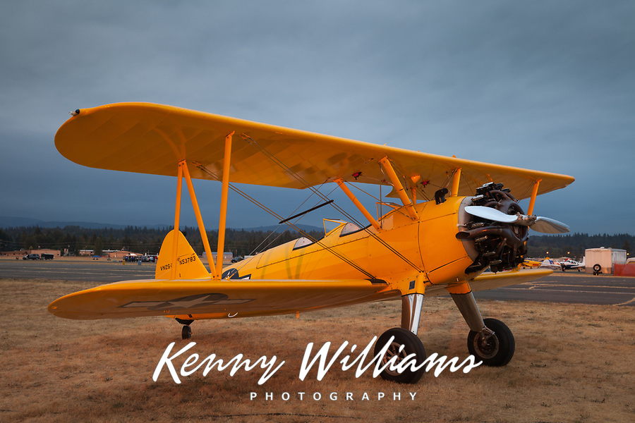 Yellow Boeing A75 Vintage Biplane, Arlington Fly-In 2015, WA, USA.