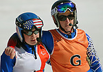 March 28, 2012:  Visually impaired skiier, Lindsay Ball and her sighted guide, Diane Barras, following their first run in Super G competition at the U.S. Adaptive Alpine National Championships at the Racer's Edge course in Aspen, Colorado.
