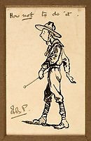 How not to do it - A sketch of a 'slouching' boy scout by Lord Baden-Powell under the hammer.