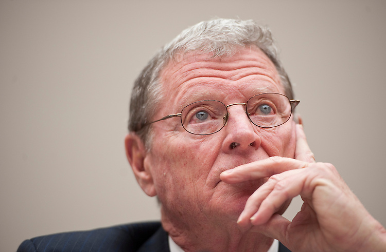 "UNITED STATES - FEBRUARY 9: Sen. Jim Inhofe, R-Okla., testifies during the Energy and Power Subcommittee hearing on ""The Energy Tax Prevention Act of 2011"" on Wednesday, Feb. 9, 2011. (Photo By Bill Clark/Roll Call)"