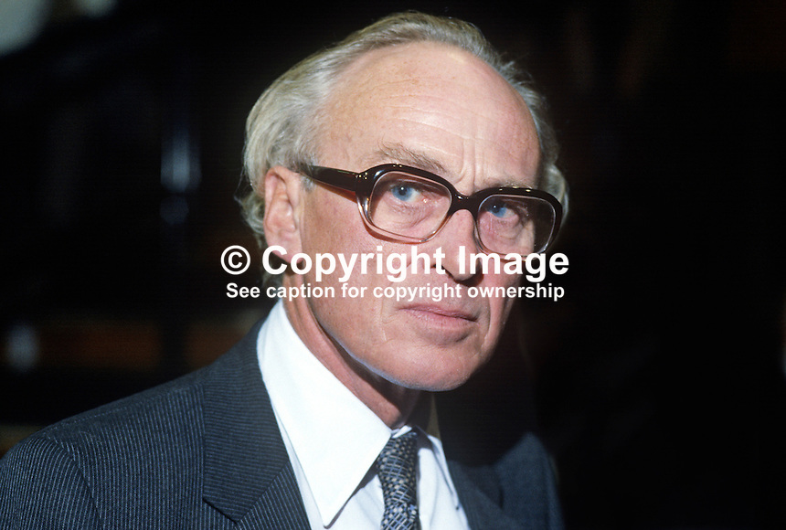 Nicholas Ridley, MP, Conservative Party, UK, Secretary of State for Transport, at annual conference, Brighton, 1984. 19840152NR1..Copyright Image from Victor Patterson, 54 Dorchester Park, Belfast, UK, BT9 6RJ..Tel: +44 28 9066 1296.Mob: +44 7802 353836.Voicemail +44 20 8816 7153.Skype: victorpattersonbelfast.Email: victorpatterson@me.com.Email: victorpatterson@ireland.com (back-up)..IMPORTANT: If you wish to use this image or any other of my images please go to www.victorpatterson.com and click on the Terms & Conditions. Then contact me by email or phone with the reference number(s) of the image(s) concerned.