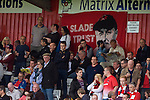 Stevenage 0 Leyton Orient 1, 17/08/2013. Broadhall Way, League One. Leyton Orient arrived in Stevenage with the swagger of a club that had started the season well, while Stevenage searched for their first point. Leyton Orient supporters with Russell Slade flag. Photo by Simon Gill