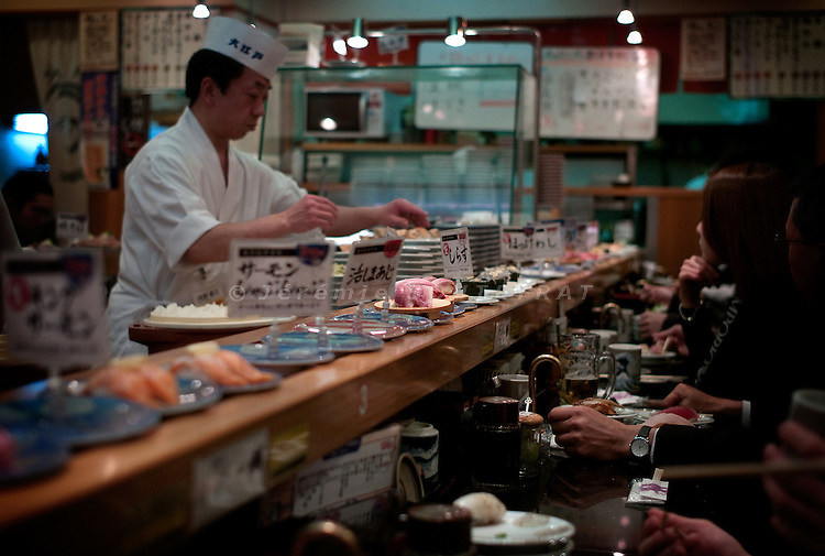 Tokyo, 1st of March 2010 - Tuna sushi in a restaurant of the Shinjuku area. Japanese consume 80 percent of the world's bluefin tuna.
