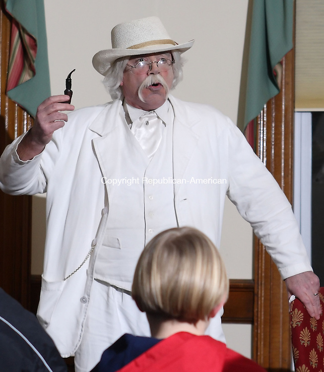 Winsted, CT-10 January 10 2008-011008MK01 Mark Twain, played by actor Richard Clark of Boylston Mass., treated 25 visitors to follies of a bygone era Thursday evening at the Beardsley & Memorial Library.  Twain described his life's experiences and treated the guests to his style of wit and wisdom during the one man show. . Michael Kabelka / Republican-American   ( Mark Twain, played by actor Richard Clark of Boylston Mass. )CQ