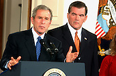 Former Governor Tom Ridge (Republican of Pennsylvania) is introduced by United States President George W. Bush to be Assistant to the President for Homeland Security during a ceremony in the East Room ofthe White House in Washington, DC on October 8, 2001.<br /> Credit: Ron Sachs / CNP