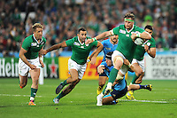 Jamie Heaslip of Ireland leads the Irish attack late in the second half of  Match 28 of the Rugby World Cup 2015 between Ireland and Italy - 04/10/2015 - Queen Elizabeth Olympic Park, London<br /> Mandatory Credit: Rob Munro/Stewart Communications