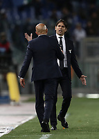 Calcio, Serie A: SS Lazio vs Internazionale Milano, Olympic stadium, Rome, October 29, 2018.<br /> Lazio's coach Simone inzaghi (in front of) greets Inter's coach Luciano Spalletti at the end of the Italian Serie A football match between SS Lazio and Inter Milan at Rome's Olympic stadium, on October 29, 2018.<br /> inter wins against Lazio 3-0.<br /> UPDATE IMAGES PRESS/Isabella Bonotto