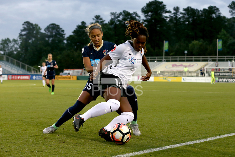 Cary, North Carolina  - Wednesday May 24, 2017: Kayla Mills, Jaelene Hinkle during a regular season National Women's Soccer League (NWSL) match between the North Carolina Courage and the Sky Blue FC at Sahlen's Stadium at WakeMed Soccer Park.