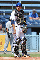 Asheville Tourists catcher Anthony Aguilera #16 during  a  game  against the Hickory Crawdads at McCormick Field on August 7, 2011 in Asheville, North Carolina. Hickory won the game 16-6.   (Tony Farlow/Four Seam Images)