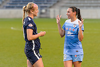 Bridgeview, IL, USA - Sunday, May 29, 2016: Sky Blue FC midfielder Nikki Stanton (7) and Chicago Red Stars midfielder Vanessa DiBernardo (10) after a regular season National Women's Soccer League match between the Chicago Red Stars and Sky Blue FC at Toyota Park. The game ended in a 1-1 tie.