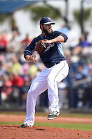 Tampa Bay Rays pitcher Josh Lueke (52) during a spring training game against the Boston Red Sox on March 25, 2014 at Charlotte Sports Park in Port Charlotte, Florida.  (Mike Janes/Four Seam Images)