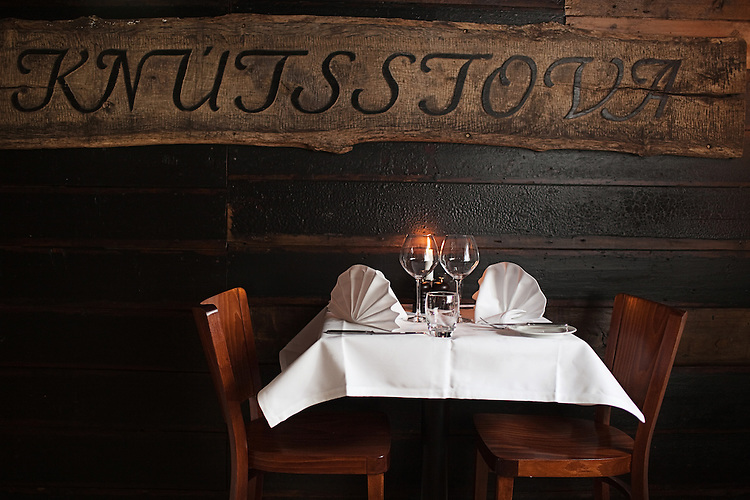 A table waits for visitors at a restaurant in Tórshavn, the capital city of the Faroe Islands.