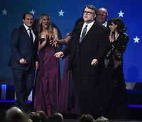 SANTA MONICA, CA - JANUARY 11: Director Guillermo del Toro accepts Best Picture for 'The Shape of Water' at the 23rd Annual Critics' Choice Movie Awards at Barker Hangar on January 11, 2018 in Santa Monica, California. (Photo by Frank Micelotta/PictureGroup)