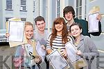 Students pictured at Gaelcholáiste Chiarraí collecting their Junior Cert results on Wednesday, from left:  Jennifer Ní Mhuircheartaigh, Daithí O Murchu, Megan Níc Ionrachtaigh, Séamus Ó Conchuir and Clodagh Ní Ghrifín..