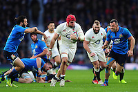 James Haskell of England goes on the attack. RBS Six Nations match between England and Italy on February 26, 2017 at Twickenham Stadium in London, England. Photo by: Patrick Khachfe / Onside Images