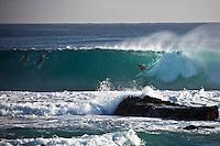 DAVE DAVIDSON (UAS) surfing Snapper Rocks during Cyclone Jasper, the Superbank, Coolangatta , Queensland, Australia.  Photo: joliphotos.com