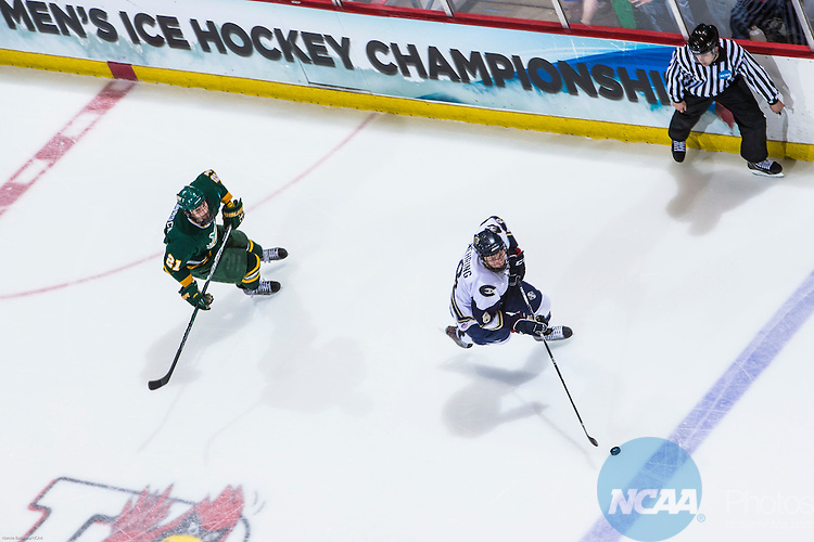16 MAR 2013:   Oswego State's Tyler Leimbrock (21) chases Wisconsin Eau Claire's Brian Nehring (8) during the Division lll Men's Ice Hockey Championship held at the Olympic Center in Lake Placid, NY. Wisconsin Eau Claire defeated Oswego State 5-3 for the national title. Nancie Battaglia/NCAA Photos