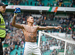 James Tavernier throws his shirt to the fans
