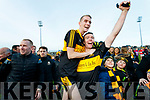 Dr Crokes players Gavin O'Shea and Shane Doolan celebrate after winning the Kerry County Senior Club Football Championship Final match between Dr Crokes and Dingle at Austin Stack Park in Tralee, Kerry on Sunday.