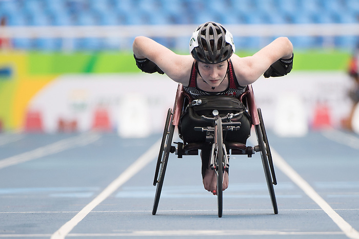 RIO DE JANEIRO - 8/9/2016:  Ilana Dupont competes in the Women's 100m - T53 Round 1 Heat in the Olympic Stadium during the Rio 2016 Paralympic Games. (Photo by Matthew Murnaghan/Canadian Paralympic Committee