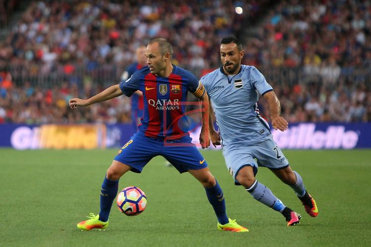 League Santander 2016/2017.<br /> 51e Trofeu Joan Gamper.<br /> FC Barcelona vs UC Sampdoria: 3-2.<br /> Andres Iniesta vs Fabio Quagliarella.
