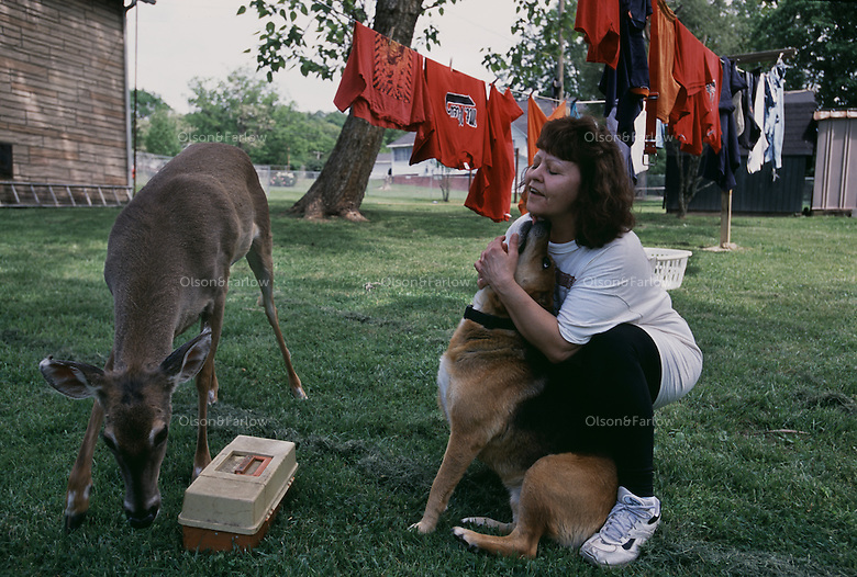 Hugging her dog with a tame deer in the back yard, Judy Bonds, is a coal miners daughter turned activist.  She founded Coal River Mountain Watch and became in outspoken activist won the prestigious Goldman Environmental Prize for North America Judy was forced from her family home when mining closed her town and she realized that too many were silent.