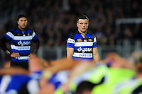 George Ford of Bath Rugby watches a scrum. Aviva Premiership match, between Bath Rugby and Sale Sharks on October 7, 2016 at the Recreation Ground in Bath, England. Photo by: Patrick Khachfe / Onside Images