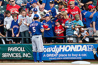"Texas Rangers second baseman Ian Kinsler #5 signs autographs before the MLB exhibition baseball game against the ""AAA"" Round Rock Express on April 2, 2012 at the Dell Diamond in Round Rock, Texas. The Rangers out-slugged the Express 10-8. (Andrew Woolley / Four Seam Images)."