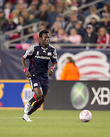 New England Revolution midfielder Kenny Mansally (7) at midfield. Real Salt Lake defeated the New England Revolution, 2-1, at Gillette Stadium on October 2, 2010.