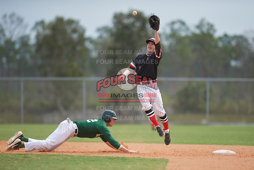 Edgewood Eagles shortstop Ryan Fields (9) jumps for a throw as Jake Oliger (42) dives safely back to second base during a game against the Babson Beavers on March 18, 2019 at Lee County Player Development Complex in Fort Myers, Florida.  Babson defeated Edgewood 23-7.  (Mike Janes/Four Seam Images)