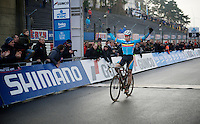 Men U23 race winner Laurens Sweeck (BEL/Corendon-Kwadro) crossing the finish line<br /> <br /> Zolder CX UCI World Cup 2014