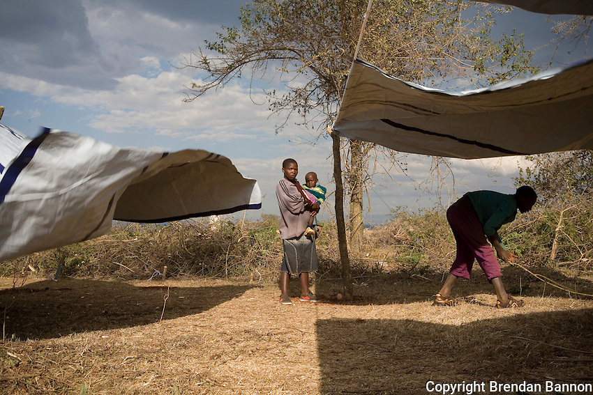 Setting up tents for temporary shelter at an IDP camp in Endebess, Kenya. 2008....