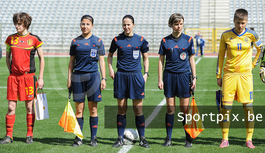 Belgium U19 - Ukraine U19 : <br /> Referee Florence Guillemin (M) with her assistent referees Aur&eacute;lie Efe (L) and Katarzyna Wasiak (R), during the female soccer match between Belgium U19 and Ukraine U19, in the first game of the elite round Group 4 in the UEFA European Women's U19 competition in the Koning Boudewijnstadion in Brussels<br /> <br /> foto Dirk Vuylsteke / Nikonpro.be