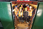 SSE Barge Restoration.L-R: Roger Francis (Monmouth, Brecon and Abergavenny Canal Trust) Dave Binding, Malcolm White and Bev Friend (SSE), Richard Dommett MBE & Wyn Mitchell (Monmouth, Brecon and Abergavenny Canal Trust)..Uskmouth Power Station.01.03.12.©STEVE POPE