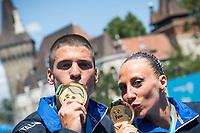 ITA Italy FLAMINI Manila MINISINI Giorgio gold medal<br /> Synchronised swimming , Synchro<br /> mixed duet tecnhical final<br /> 17/07/2017 <br /> XVII FINA World Championships Aquatics<br /> City Park - Varosliget Lake<br /> Photo @ Giorgio Perottino/Deepbluemedia/Insidefoto
