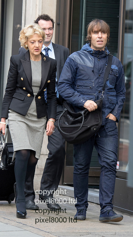 Pic shows: Liam Gallagher - with Fiona Shackleton<br /> <br /> <br /> Former Oasis singer Liam Gallagher today arrived at court alongside one of the country's top divorce lawyers.<br /> The 42-year-old musician, who is embroiled in a legal battle with his ex-wife Nicole Appleton, was seen outside the Central Family Court in London with Fiona Shackleton.<br /> Baroness Shackleton, a relative of Nigella Lawson, represented Prince Charles in his 1996 divorce from Princess Diana and Sir Paul McCartney in his 2008 divorce from Heather Mills. <br /> <br /> <br /> <br /> <br /> <br /> <br /> Pic by Gavin Rodgers/Pixel 8000 Ltd  17.9.15