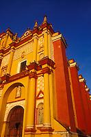 Facade of the Spanish Colonial Cathedral in San Cristobal de Las Casas, Chiapas, Mexico