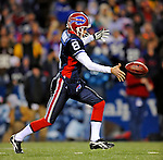 17 November 2008:  Buffalo Bills' punter Brian Moorman kicks one to the Cleveland Browns at Ralph Wilson Stadium in Orchard Park, NY. The Browns defeated the Bills 29-27 in the Monday Night AFC matchup. *** Editorial Sales Only ****..Mandatory Photo Credit: Ed Wolfstein Photo