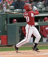 NWA Democrat-Gazette/ANDY SHUPE<br />Arkansas second baseman Carson Shaddy follows through with a solo home run Saturday, April 14, 2018, during the second inning against South Carolina at Baum Stadium. Visit nwadg.com/photos to see more photographs from the game.