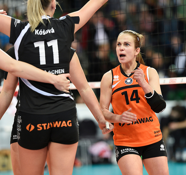 Halle/Westfalen, Germany, March 01: Dominika Valachova #14 of Ladies in Black Aachen gestures during the Volleyball DVV-Pokalfinale (Damen) between Ladies in Black Aachen and Allianz MTV Stuttgart on March 1, 2015 at the Gerry Weber Stadion in Halle/Westfalen, Germany. Final score 2-3 (25-17, 25-20, 19-25, 19-25, 13-15). (Photo by Dirk Markgraf / www.265-images.com) *** Local caption ***