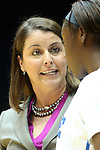 17 November 2012: Duke head coach Joanne P. McCallie talks to Alexis Jones (right). The Duke University Blue Devils played the Presbyterian College Blue Hose at Cameron Indoor Stadium in Durham, North Carolina in an NCAA Division I Women's Basketball game. Duke won the game 84-45.