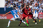 Samir Nasri of Sevilla FC battles for the ball with Martin Mantovani of Deportivo Leganes during their La Liga match between Deportivo Leganes and Sevilla FC at the Butarque Municipal Stadium on 15 October 2016 in Madrid, Spain. Photo by Diego Gonzalez Souto / Power Sport Images