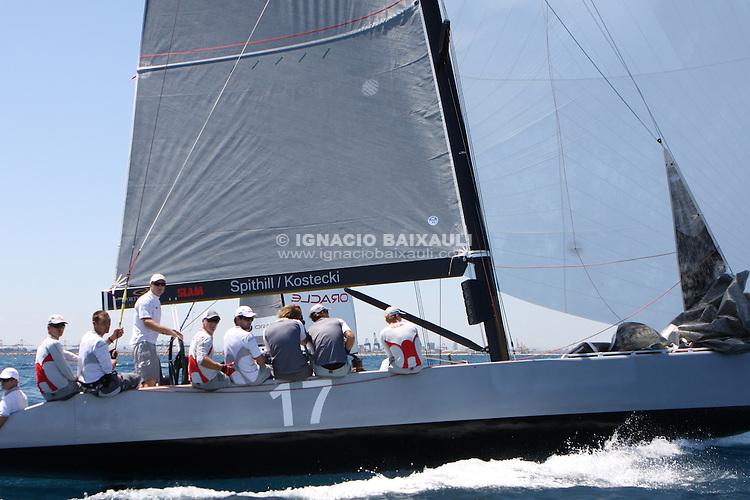 Couts vs Spithill. RC44 boats sailing in Valencia. RC44 Valencia Cup, Marina Real Juan Carlos I, Valencia, Spain