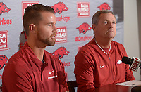 NWA Democrat-Gazette/ANDY SHUPE<br /> Newly hired Arkansas pitching coach Matt Hobbs (left) speaks Wednesday, Nov. 28, 2018, alongside coach Dave Van Horn during a press conference to announce his hire at Baum Stadium in Fayetteville.