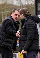 Martin Allen Manager of Barnet & Wycombe Wanderers Manager Gareth Ainsworth pre match handshake during the Sky Bet League 2 match between Wycombe Wanderers and Barnet at Adams Park, High Wycombe, England on 16 April 2016. Photo by Andy Rowland.
