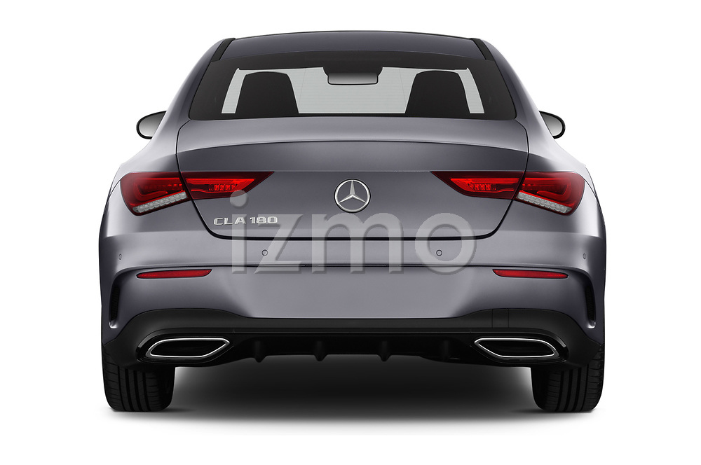 Straight rear view of a 2020 Mercedes Benz CLA AMG-Line 4 Door Sedan stock images