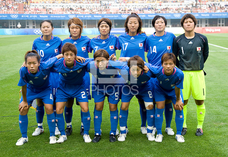 Japan lines up before first round play in the 2008 Beijing Olympics at Qinhuangdao, China. .  Japan tied New Zealand, 2-2, at Qinhuangdao Stadium.